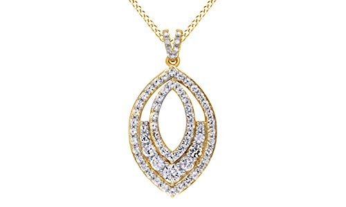 Marquise Simulated Diamond Sterling Pendant (Simulated White Sapphire and Diamond Accent Marquise Pendant Necklace In 14K Gold Over Sterling Silver)