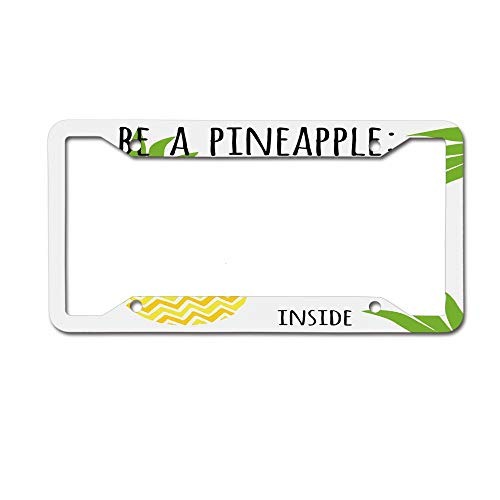 - Dinzisalugg Custom Aluminum Metal License Plate Frame Tag Holder Cute,Inspirational Be a Pineapple Exotic Fresh Fruit Design with Arrow Motif License Plate Frame 4 Holes and Screws