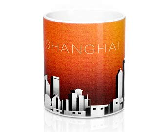 Promini White Ceramic Mugs Shanghai Paper Cutout City Skyline Mug Glass Coffee Tea Mug Cup Funny Coffee Mugs for Friends, Brothers, Coworkers & More 11oz]()