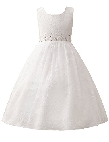 Castle Fairy Girls Pageant 2018 Wedding Flower Girl Dresses Pearls First Communion With Bow (4, White 3)