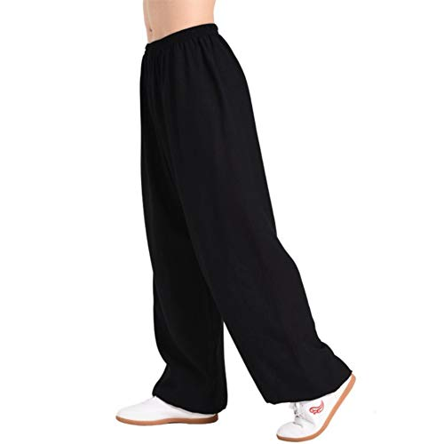(Men's Women Martial Arts Pants Kung Fu Bamboo Cotton Linen Trousers Tai Chi Pants (XX-Large, Black))