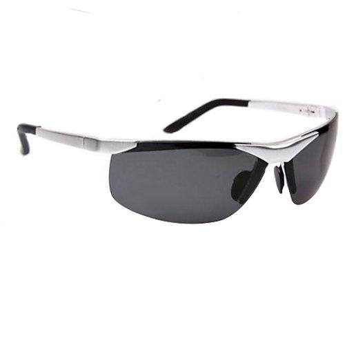 Fashion Aviator Police Metal Frame Polarized Sunglasses Mens Glasses (Silver) (Glasses Frames Police)