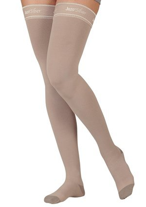 20-30 mmHg Juzo Silver Soft Series Compression Stockings.. Thigh High. Closed Toe. Short Silicone Grip. , Size:IV by Juzo