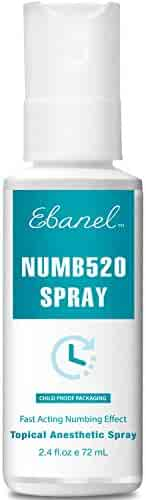 Ebanel Numbing 5% Lidocaine Spray for Tattoo (During & After), Postpartum, Waxing, Micro-Needling, Microblading, Suture, Laser Hair Removal, Skin Tag Removal, Piercings, 72ml Topical Anesthetic Spray