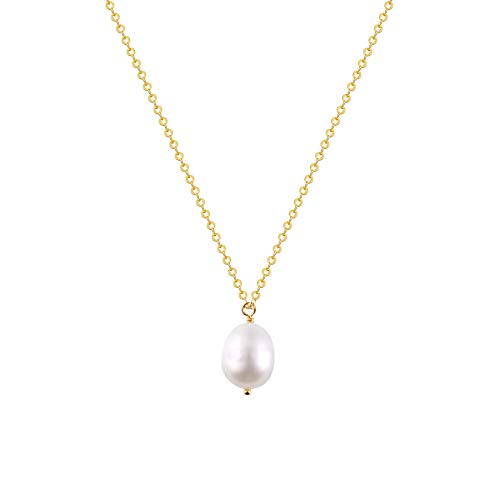 S.J JEWELRY Fremttly Womens Simple Delicate 14K Gold Fill/Rose Gold/Silver Plated Triangle and Freshwater Pearls Layering Pendant Adjustable Y Necklace-NK-1Pearl