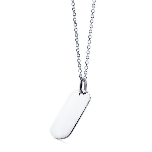 Mens 14k White Gold Dog Tag Necklace w Link Chain Engravable