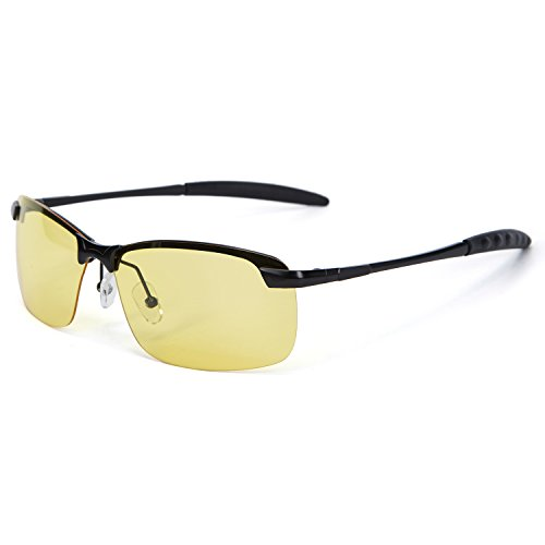 YJMILL New Polarized Sunglasses Retro Pilots Riding Fishing Golf Travel Sports Yellow Sunglasses At Night For Men Women 3043 (black-yellow, - Sunglasses Night Hart By Corey At