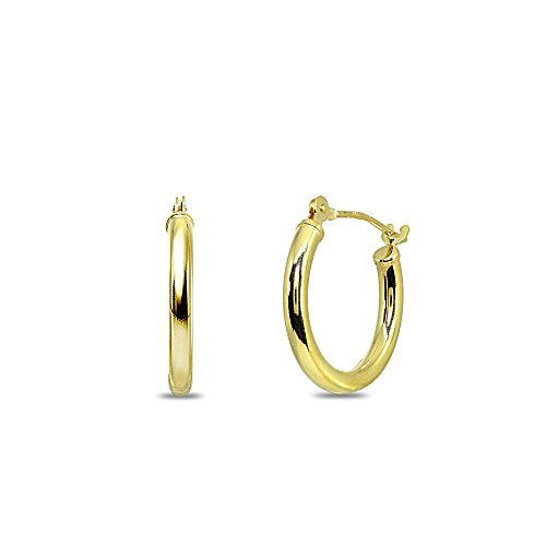 Gold Snap 10k (10K Yellow Gold 2x15mm Round Tube Click-Top Hoop Earrings for Men Women Girls Kids)