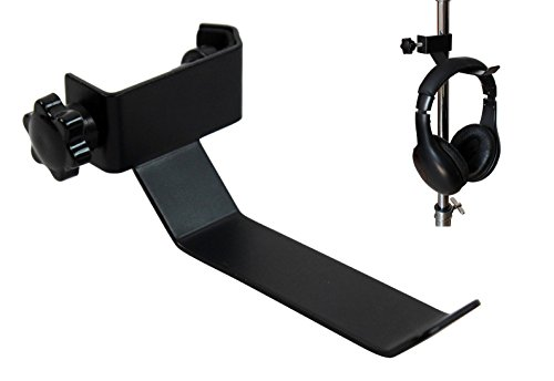 YMC Headphone Holder Tambourine Holder Hanger Clip for Microphone/Musical Stand, Black