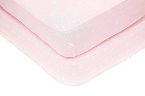 Sugar & Spice – 2 Pack Fitted 100% Jersey Cotton Crib or Toddler Sheet Set, For Baby Girls Pink And White, Hearts And Stars -