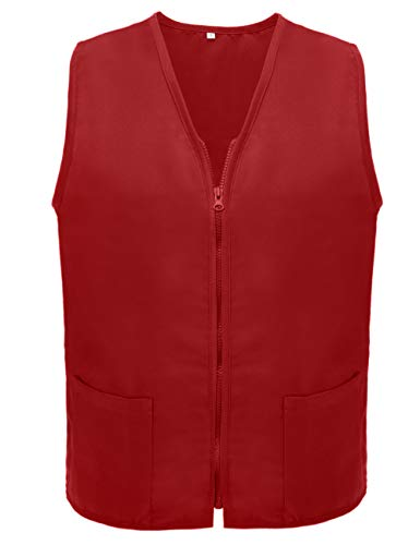 TOPTIE Adult Volunteer Vest Activity Event Supermarket Apron Vests, Red
