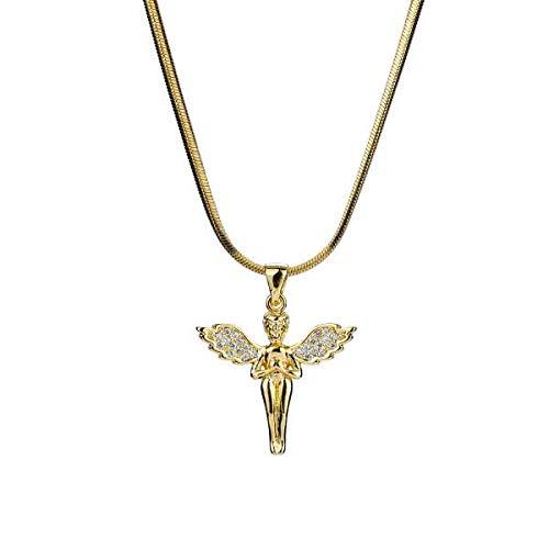 Cubic Zircon Crystal Small Cute Angel Pendant Necklace | Hip Hop Choker Chain | Golden Copper Charm Necklace | Women Men Jewelry (Gold)