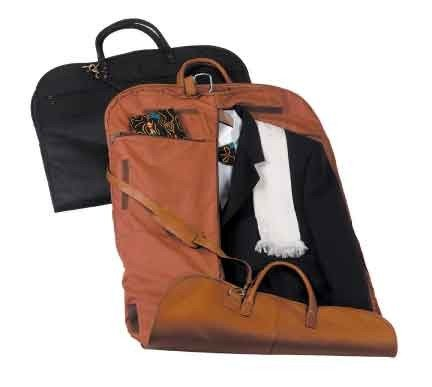 ROYCE Garment Bag Suitcase in Genuine Leather, Tan by Royce