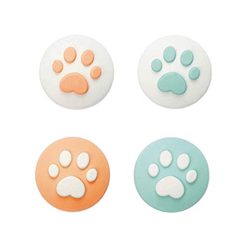 Geekshare 4Pcs Silicone Sakura Paw Joy Con Thumb Grip Set Joystick Caps Nintendo Switch Controller Cover Analog Thumb Stick Grips (Cat Claw 02)