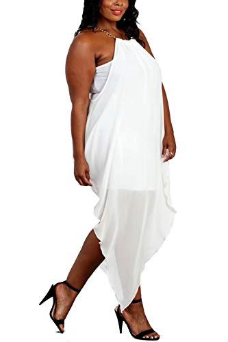 Benian Womens Plus Size Sleeveless Double Layer Party,Cocktail Asymmetrical Chain Strap Halter Dress (1XL, Ivory)