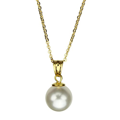 Joyful Creations 18k Gold-Flashed Sterling Silver Chain Necklace Simulated Pearl Made with Swarovski Crystals, - Pendant Pearl Gold 18k