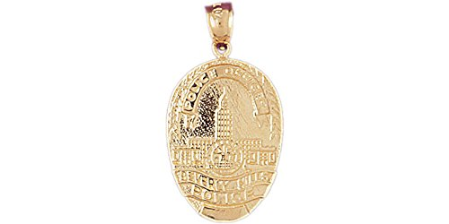14k Yellow Gold Beverly Hills Police Pendant Beverly Hills Gold Jewelry