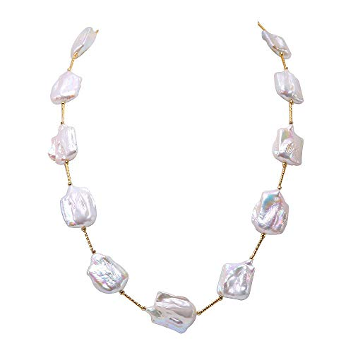 JYX Baroque Pearl Necklace White Cultured Freshwater Pearl Station Necklace 28