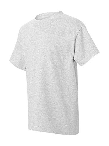 (Hanes boys Cotton T-Shirt(5450)-Ash-L)