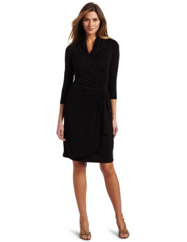 Karen Kane Women's 3/4 Sleeve Cascade Wrap Dress, Black, Large