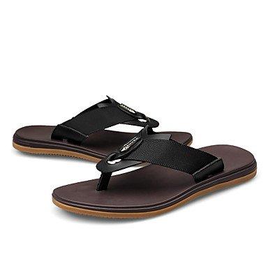 Sandalias de verano zapatos de hombre casual Zapatillas de cuero negro/marrón Brown