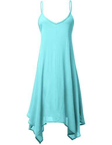 Asymmetrical Hem Solid Color Mid Length Flowy Dresses,032-Aqua,Medium