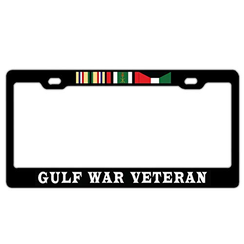 Gulf War Veteran Campaign Ribbons License Plate Frame Aluminum Metal, Custom Military Pride License Plate Cover, Humor Car Tag Holder, 2 Holes and Screws