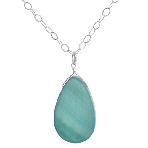 Mother Pearl Of Pendant Aqua (Aqua Mother of Pearl Sterling Silver Handmade Necklace by ASHANTI)