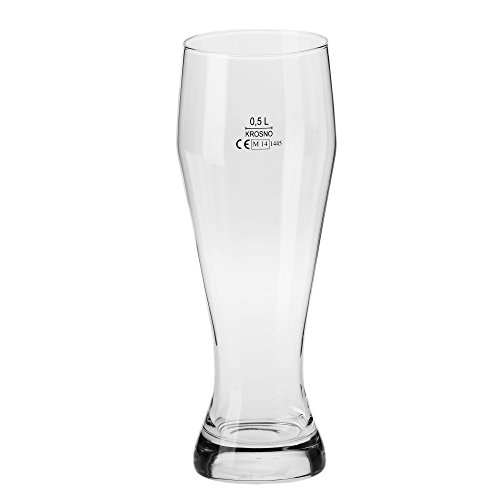 Household Essentials KROSNO Bruno Wheat Beer Glasses (Set of 6), 18 oz, Clear