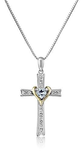 Sterling Silver and 14k Gold Aquamarine and Diamond Cross My Heart Pendant Necklace, 18