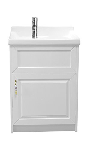 sink ALEXANDER 24'' WHITE Utility Sink - Modern Mop Slop Tub Deep Sink Ceramic Laundry Room Vanity Cabinet Contemporary Hardwood Hard by www.LuxuryModernHome.com (Image #1)