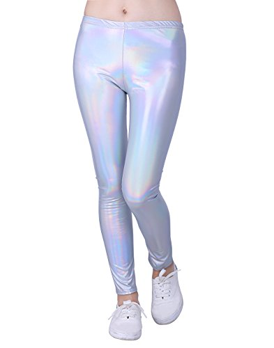 (HDE Girls Shiny Wet Look Leggings Kids Liquid Metallic Footless Tights (4T-12) (Iridescent)