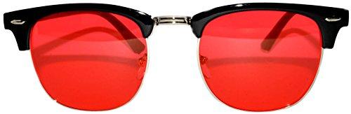 Vintage Retro Silver Metal Half Frame Red Lens - Red Sunglasses Lense