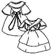 Girl's Dress with Fichu Pattern (Size- Medium 7-10) (Period Dress)
