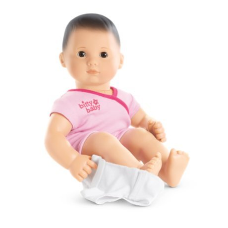 American Girl - Bitty Baby Doll Light Skin Dark Brown Hair Brown Eyes BB2 with Pink Bodysuit American Made Baby Dolls