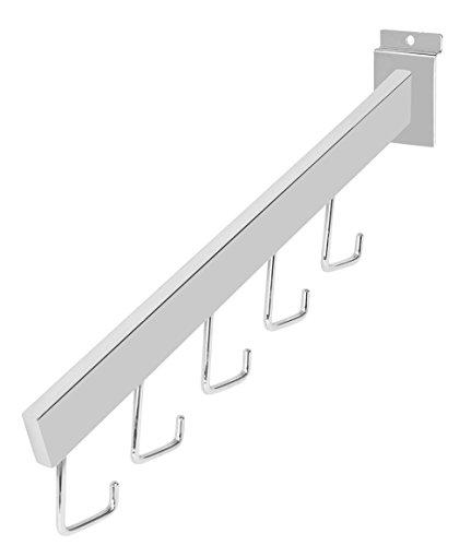 Dimensional Waterfall - Chrome 5-J-Hook Dimensional Waterfall for Slatwall - Pack of 10