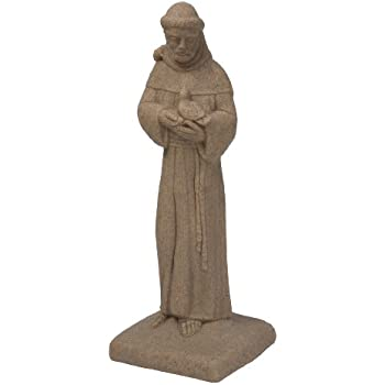 EMSCO Group Saint Francis Statue U2013 Natural Sandstone Appearance U2013 Made Of  Resin U2013 Lightweight U2013
