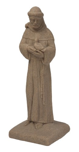 EMSCO Group Saint Francis Statue – Natural Sandstone Appearance – Made of (Lawn Ornament Religious Statue)