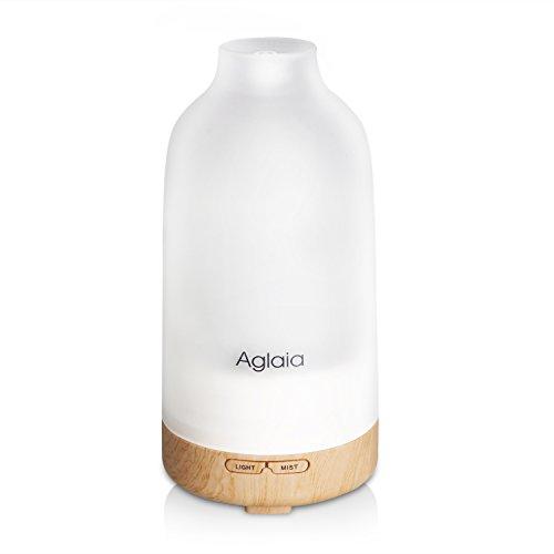 Aglaia 超音波式 加湿器 アロマディフューザー アロマランプ 7色変換LED付き ガラスカバー 100ml BE-A4(ホワイト)
