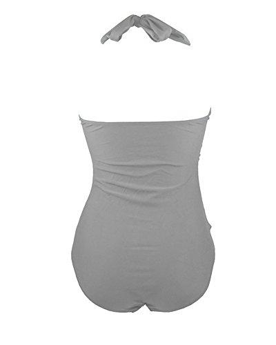 Retro 50s Pin-Up Halter Una Pieza Traje de Baño Trajes de Una Pieza Monokinis Gris