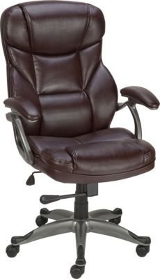 Staples Osgood Bonded Leather High-Back Manager's Chair, - Staples Leather Chair