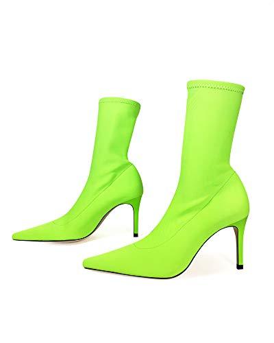 ef5569771603 Zara Women Neon sock-style heeled ankle boots 1170 001 (40 EU