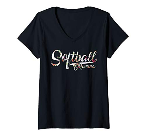 (Womens Softball Momma Florar Design Illustration For Mom V-Neck T-Shirt)