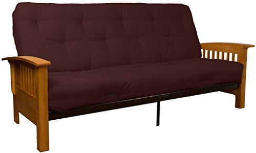 Brentwood Mission-Style 8-Inch Loft Inner Spring Futon Sofa Sleeper Bed, Full-size, Medium Oak Arm Finish, Twill Burgundy - Futon Oak Mattress