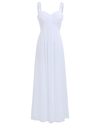 iiniim Women's Chiffon Pleated Wedding Maxi Bridesmaid Long Dress Evening Prom Gown White US Size 6