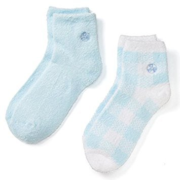 Earth Therapeutics Aloe Vera & Vitamin E Moisturizing Socks-2 Pack: Baby Blue/Plaid
