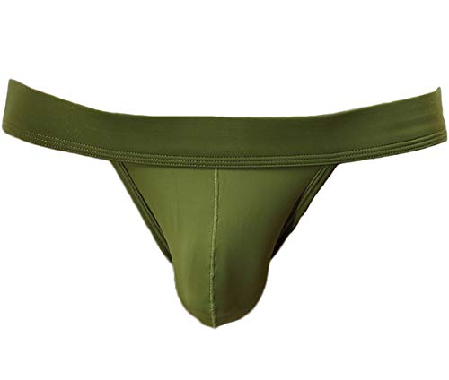 Mens Low Rise Bikini - YuKaiChen Men's Briefs Sexy Seamless Underwear Low Rise Bikini Bulge Enhancing Army Green Small
