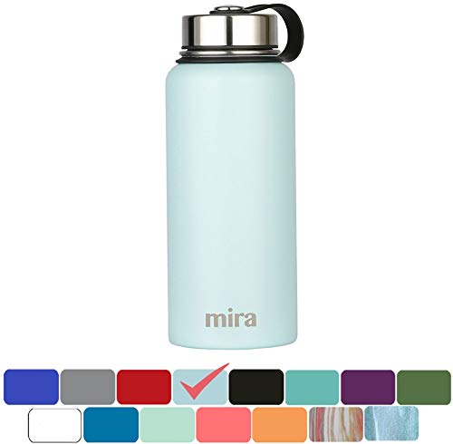 Wide Mouth Thermal Bottle - MIRA 32 oz Stainless Steel Vacuum Insulated Wide Mouth Water Bottle | Thermos Keeps Cold for 24 Hours, Hot for 12 Hours | Double Wall Powder Coated Travel Flask | Pearl Blue