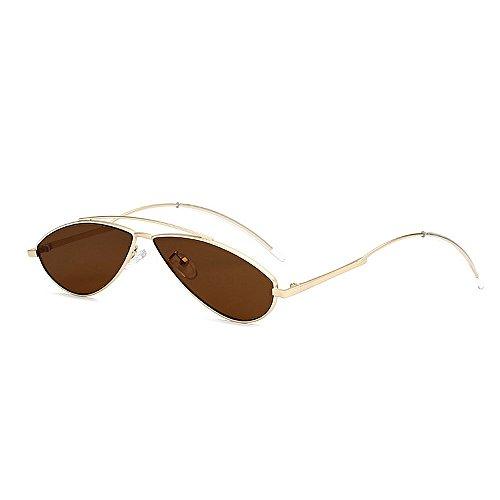 PC la Gafas Unisex Gato Lente Ojos de de Gafas conducción Sol y de de de de Mujeres Color de Oval Sol Personalidad UV protección Marrón para Sol pequeño Gafas la Hombres Rojo Retro IRXSgg
