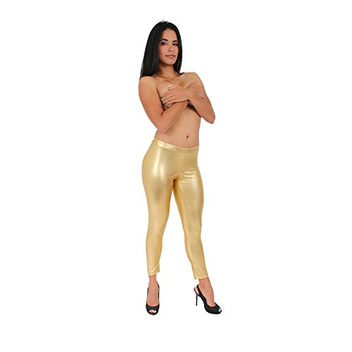 Women's Metallic Pants Liquid Wet Sexy Hot: Gold (XL)